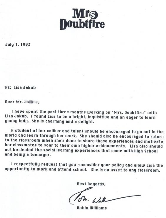 robin williams letter