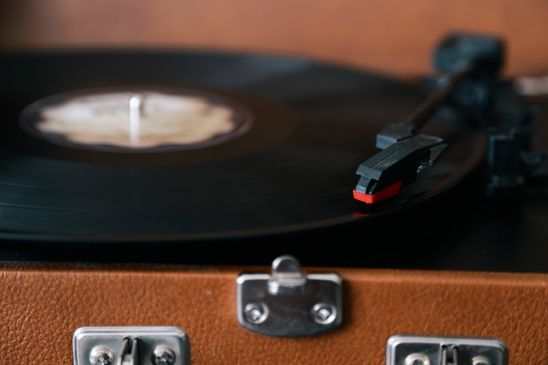 using record player closeup