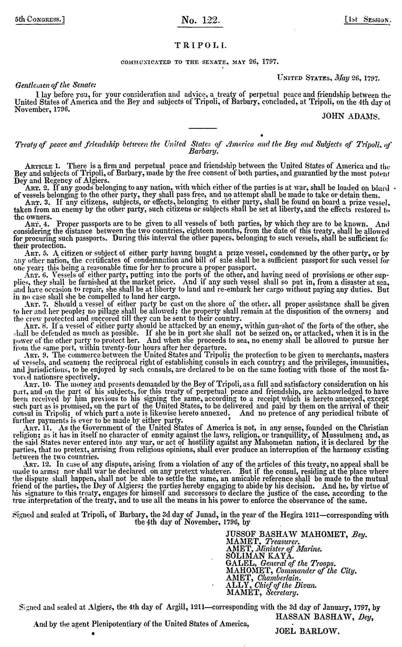 Treaty of Tripoli as communicated to Congress 1797