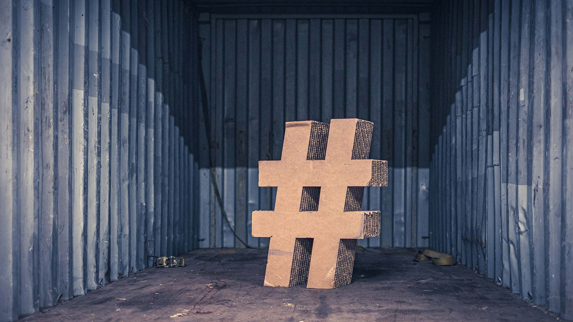 hashtag in shipping container